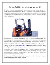 100 One Day Truck Rental Big Joe Forklifts For Sale From Big Joe Lift By Bigjoeliftca Issuu
