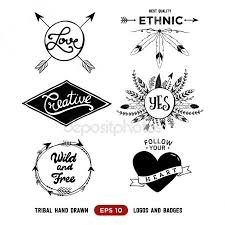 Hand Drawn Tribal Design Vector Elements Aztec Logos And Badges Arrow Wreath Feather