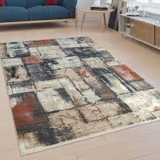 kurzflor teppich mosaik design bunt teppich shaggy