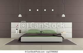 braunes schlafzimmer mit modernem bett nachttisch und