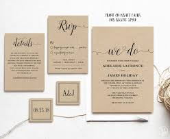 Rustic Wedding Invitation Template 5 Piece Printable Kraft Editable Text Instant Download