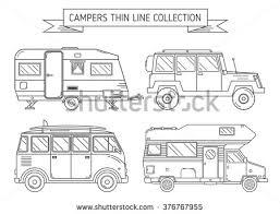 RV Travel Concept Set Camping Trailer Family Caravan Collection Traveler Truck Campsite Place Landscape