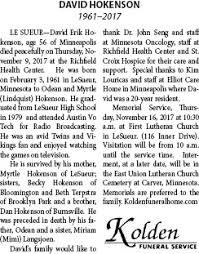 Obituary for DAVID HOKENSON