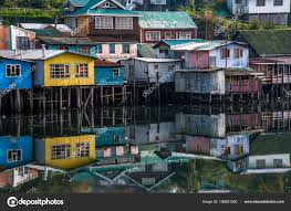 100 Houses In Chile Palafito Houses Above The Water In Castro Chiloe Stock