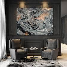 wanddekoration grau bronze kunst leinwand für büro