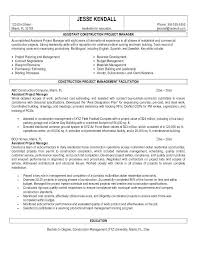 Construction Manager Resume Template Senior Project Assistant Supervisor Sample