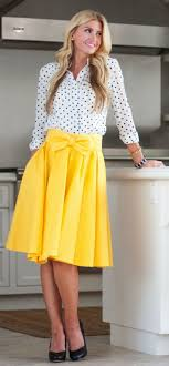 Unique Cute Modest Dresses Yellow Plain Bowknot Pleated Below Knee Sweet Midi Skirt
