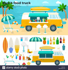 100 Food Truck Industry Beach Food Truck Vector Flat Illustrations Van With Cold Beverages