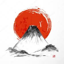 Fujiyama Mountain And Big Red Sun On White Background Traditional Japanese Style Sumi E Vector Illustration By Elinacious