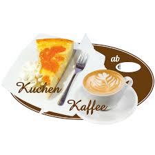 ovaler aufkleber motiv kaffee und kuchen