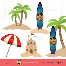 Beach At The Clip Art Seaside Summer Sun Frames Surfboard Clipart Sandcastle