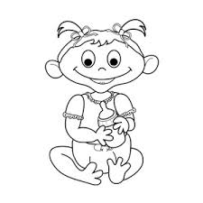 Infant Clipart Image Baby Girl with Pigtails Holding Milk Bottle Black and White Drawing