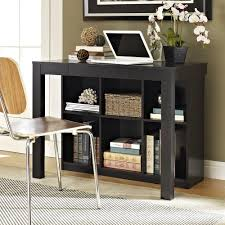 altra black oak parsons style desk with drawer and bookcase 9394096