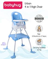 Babyhug Urban 4 In 1 High Chair With 3 Point Safety Harness And AntiSlip  Base Blue Online In India, Buy At Best Price From Firstcry.com - 1898090