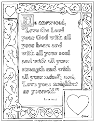Luke 1027 Print And Color Page Love The Lord Your God With All Heart