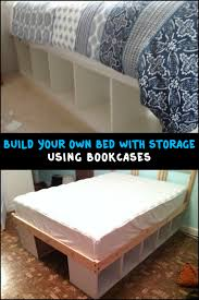 build an inexpensive bed with storage using bookcases bed frames