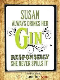 Funny Kitchen Signs Personalised Metal Wall Plaque Sign Retro Gin