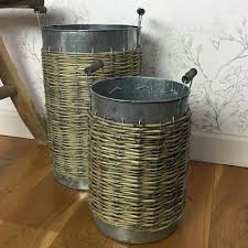 Tall Rustic Metal Indoor Flower Pot Set At The Farthing