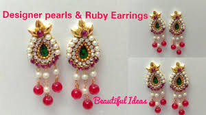 DIY/How To Make Designer Pearls & Rubies Earrings Made Out Of ... How To Make Pearl Bridal Necklace With Silk Thread Jhumkas Quiled Paper Jhumka Indian Earrings Diy 36 Fun Jewelry Ideas Projects For Teens To Make Pearls Designer Jewellery Simple Yet Elegant Saree Kuchu Design At Home How Designer Earrings Home Simple And Double Coloured 3 Step Jhumkas In A Very Easy Silk Earring Bridal Art Creativity 128 Jhumka Multi Coloured Pom Poms Earring Making Jewellery Owl Holder Diy Frame With