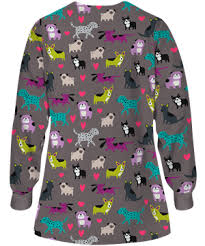 Ceil Blue Print Scrub Jackets by Ua Doggy Dog Grey Stone Warm Up Scrub Jacket Animal Print Scrubs