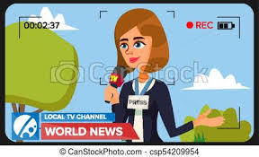 Tv Reporter Presenting News Vector Concept Video Camera Viewfinder Female Recording