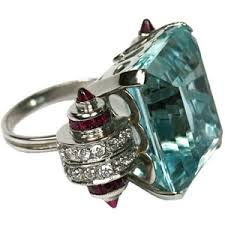deco ruby and ring cartier style deco aquamarine ruby ring