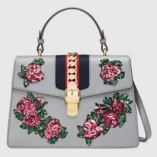 sylvie embroidered leather top handle bag gucci women u0027s top