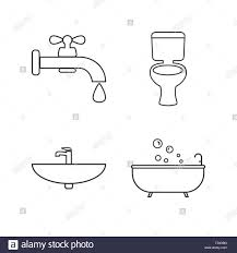 wc badezimmer symbol leitung festgelegt vector