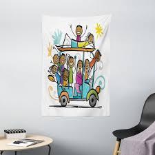wandteppich wohnzimmer schlafzimmer wandtuch seidiges satin wandteppich abakuhaus rechteckig karikatur kinder doodle wie design kaufen