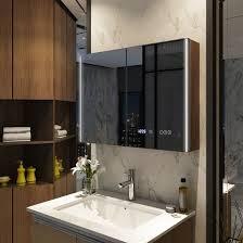 emke spiegelschrank led badezimmer spiegelschrank mit touch bluetooth uhr badspiegel