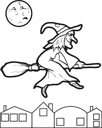 Halloween Coloring Page Of A Witch Flying On Her Broom