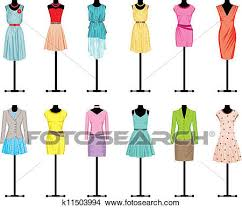 Clipart Of Mannequins With Womens Clothing K11503994