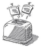 Toaster Hot Slices Of Bread Jumping Out Drawing