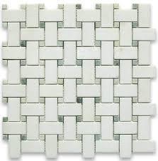 12 x12 thassos white basketweave mosaic green dots honed chip
