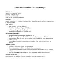 cover letter front desk resume exles resume exles for front