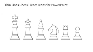 Thin Lines Chess Pieces Icons For PowerPoint