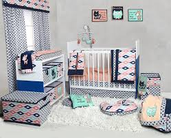bacati emma aztec coral mint navy 10 pc crib set with 2 crib