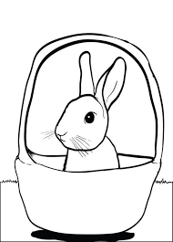 Bunny In A Basket Printable Coloring Page For Kids