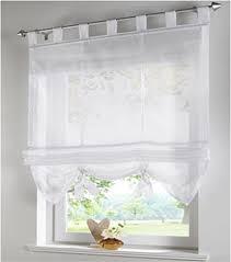Gardinen Kã Che Simpvale Raffrollo Mit Schlaufen Gardinen Voile Römischen Liter Fall Schatten Transparent Vorhang Für Balkon Und Küche Weiß 80cm Breite X155cm