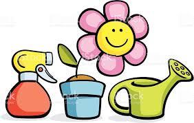 dessin animé en pot de fleurs arrosoir et pulvérisateur stock