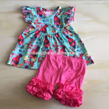 troll summer baby girls clothing kids boutique clothes ruffles