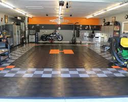 racedeck garage floor makes this harley davidson garage theme