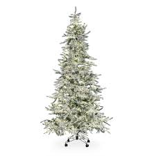 Snowy Dunhill Christmas Trees by Flocked Blue Ridge Spruce Christmas Tree With Instant Glow Power