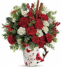 Christmas Cardinal Bouquet This Arrangement Of Red Carnations White Miniature And Is Accented With Noble Fir