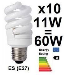 10 x low energy saving l cfl spiral bulbs es e27 edison