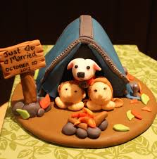 Camping Themed Wedding Cakes