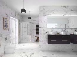 geneva offers a modern striking black and white carrara marble