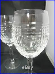 SET OF 4 Ralph Lauren GLEN PLAID Lead Crystal Wine Glasses 8 1 4