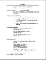 Veterinary Technician Resume For Vet Tech Format Sample Assistant Template Examples