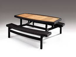 modern outdoor picnic table with wooden top and attached bench